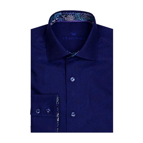 Paisley Long Sleeve Shirt // Navy Blue (XS)