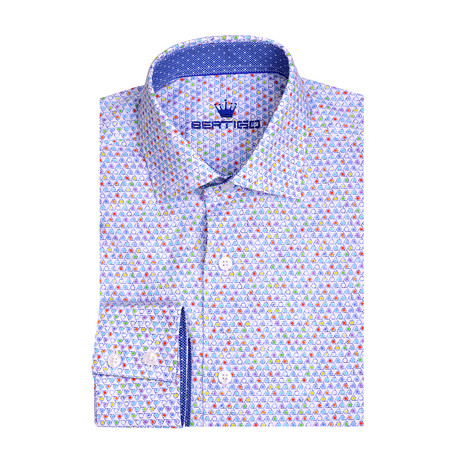 Poplin Geometric Print Long Sleeve Shirt // White (XS)
