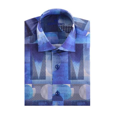 Abstract Art Print Poplin Short Sleeve Shirt // Navy Blue (XS)