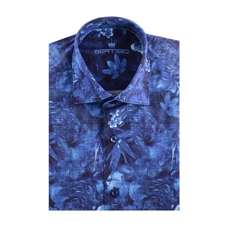 Floral Poplin Print Short Sleeve Shirt // Navy Blue (XS)