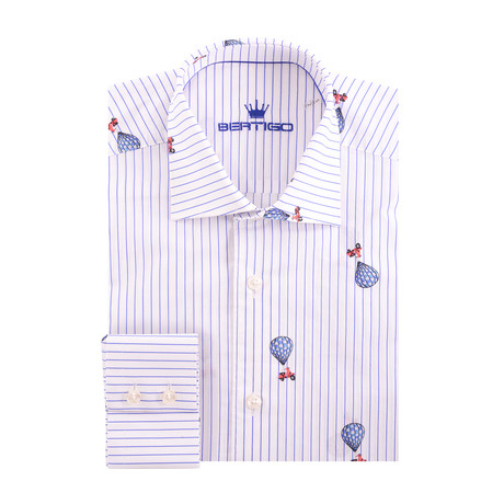 Baloon & Scoter Poplin Print Long Sleeve Shirt // White (XS)