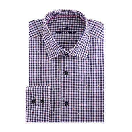 Checked Dobby Long Sleeve Shirt // Navy Blue (XS)
