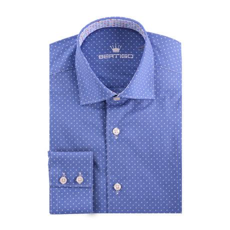 Small Dotted Poplin Print Long Sleeve Shirt // Navy Blue (XS)
