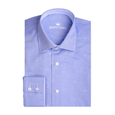 Small Tone On Tone Planes Long Sleeve Shirt // Blue (XS)