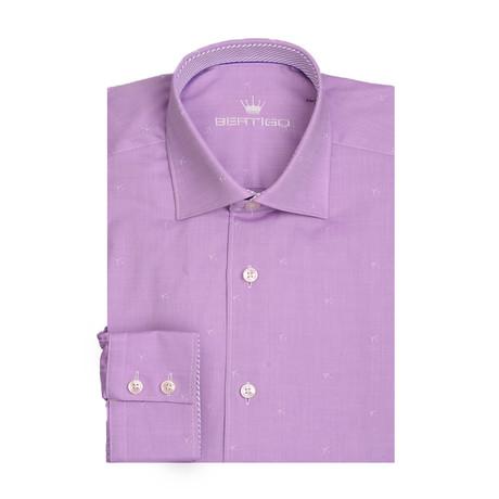 Small Tone On Tone Planes Long Sleeve Shirt // Purple (XS)