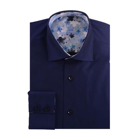 Solid Long Sleeve Shirt // Navy Blue (XS)