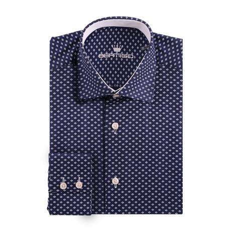 Small Diamond Oxford Long Sleeve Shirt // Navy Blue (XS)