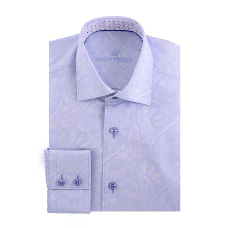Dapperman Poplin Print Long-Sleeve Button-Up // Blue (XS)