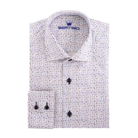 Scripture Poplin Print Long Sleeve Shirt // White (XS)