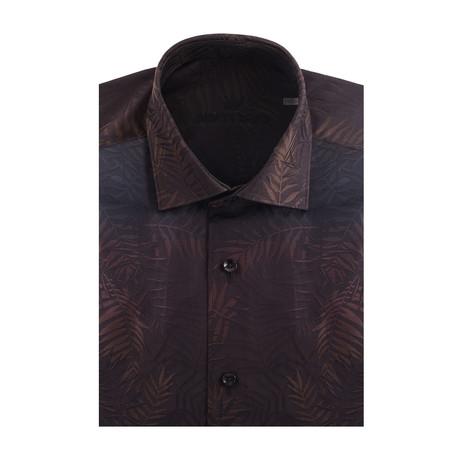 Gradient Fade Short Sleeve Shirt // Black, Brown (XS)