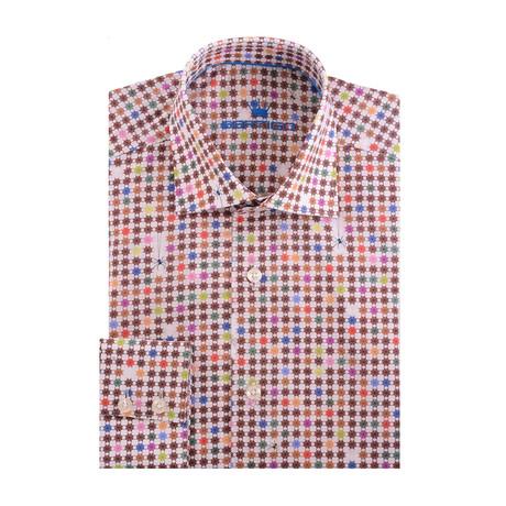 Spider Web Poplin Print Long Sleeve Shirt // Cream (XS)
