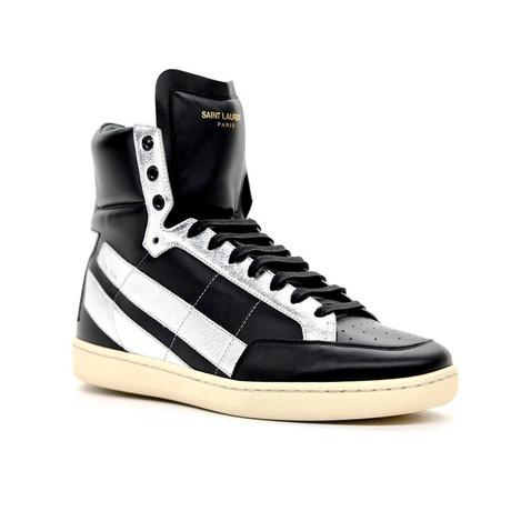 Saint Laurent // Men's Star-Back Leather High-Top Sneaker // Black + Silver (Euro: 40)