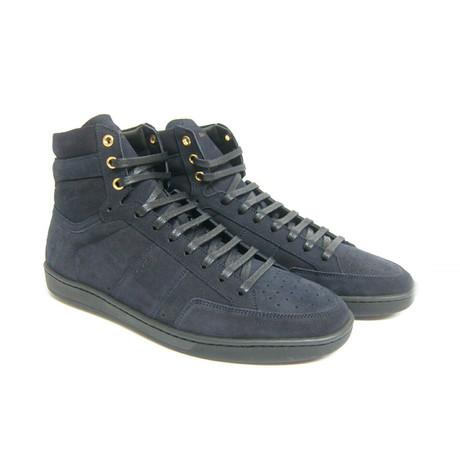 Saint Laurent // Men's Soho Suede High Top Sneaker// Blue (Euro: 40)