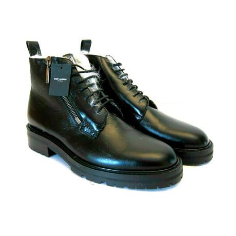 Saint Laurent // Men's Moroder Fur Lined Leather Boots // Black (Euro: 40)