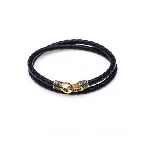 Braided Leather Bracelet (Black, 18K Gold Plated)