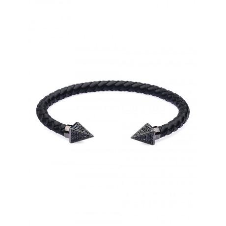 Pyramid Leather Bangle (Black, Gunmetal)