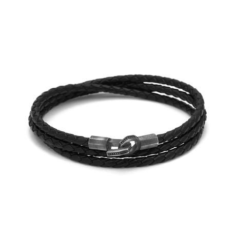 Hook Triple Leather Bracelet (Black)