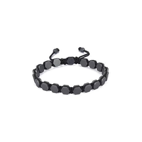 Octagonal Hematite Shamballa Bracelet // Grey