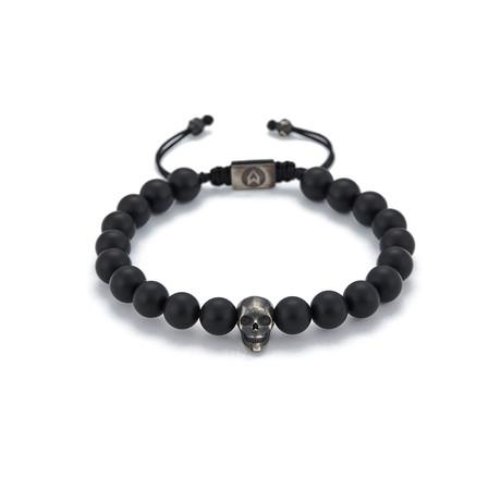Matt Onyx Skull String Bracelet // Black Oxide