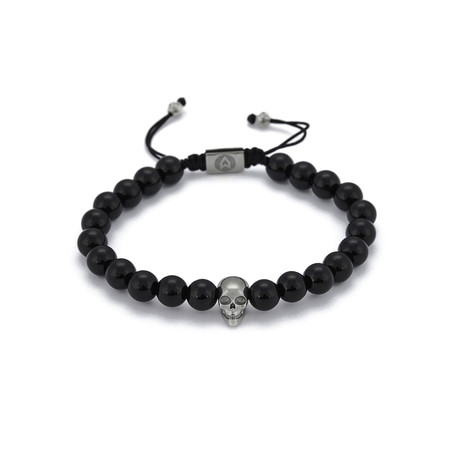 Onyx Skull String Bracelet // Black + Silver