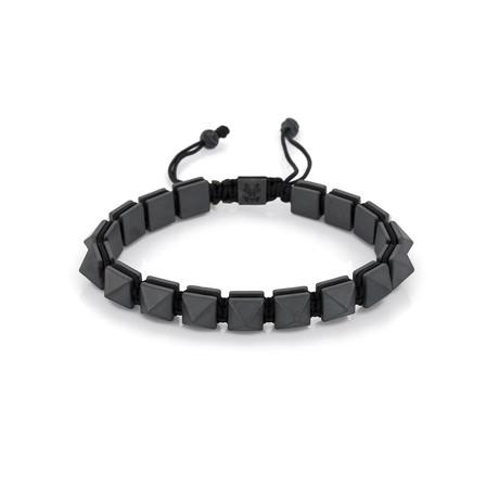 Pyramid Hematite Shamballa Bracelet // Grey