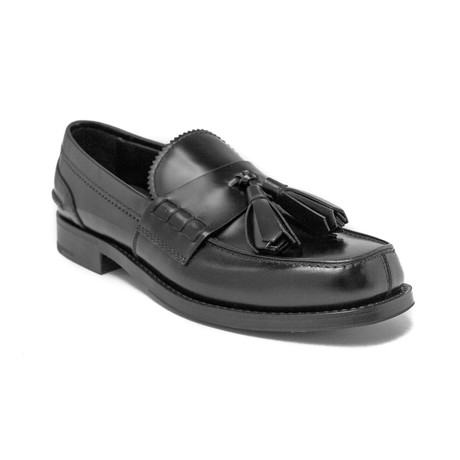 Prada // Men's Leather Tassle Loafer Shoes // Black (US: 8)