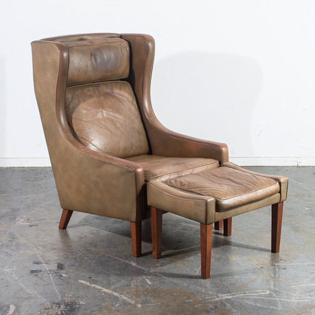 Danish Wingback Leather Lounge Chair + Ottoman