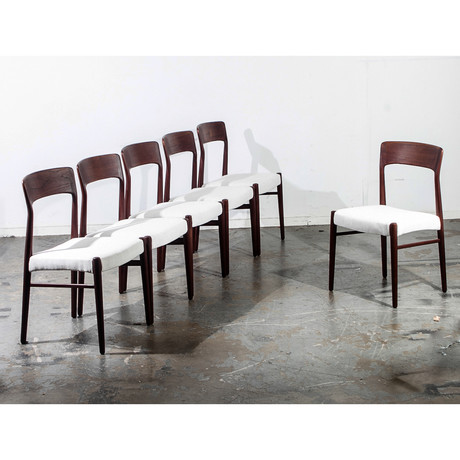 Teak Kai Kristiansen Dining Chairs In White // Set Of 6