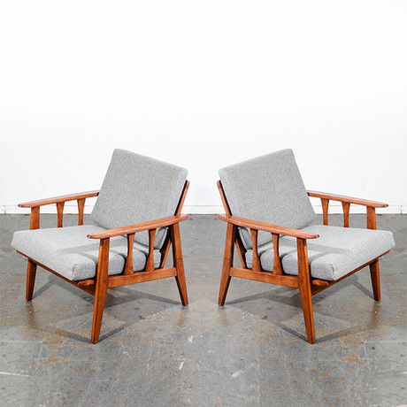 Reupholstered American Modern Lounge Chair // Set Of 2