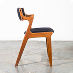Danish Oak Dining Chairs Reupholstered In Black Knoll Fabric // Set Of 6