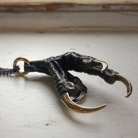 "Black Crow Claw Necklace (Bronze // 20"" Gunmetal Chain)"