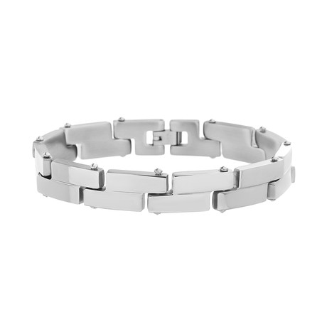 Stainless Steel Block Link Bracelet // Silver