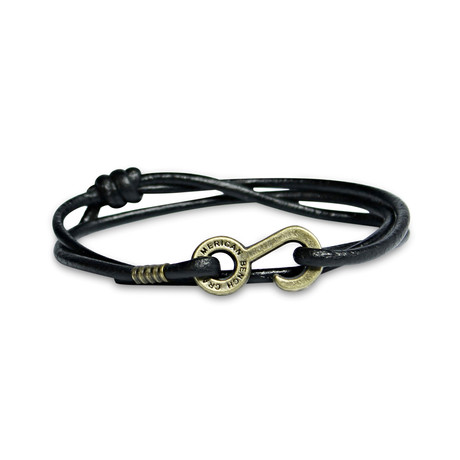 Rum Runner Cord Wrap Bracelet // Black + Brass Colored Hardware