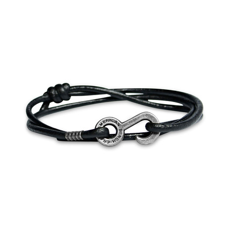 Rum Runner Cord Wrap Bracelet // Black + Nickel Colored Hardware
