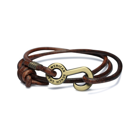 Rum Runner Cord Wrap Bracelet // Brown + Brass Colored Hardware