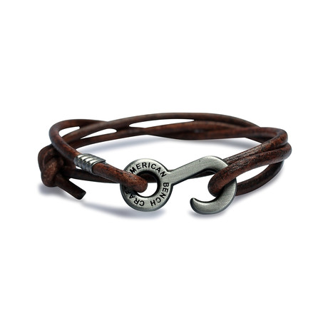 Rum Runner Cord Wrap Bracelet // Brown + Nickel Colored Hardware