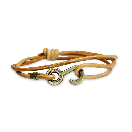 Rum Runner Cord Wrap Bracelet // Tan + Brass Colored Hardware