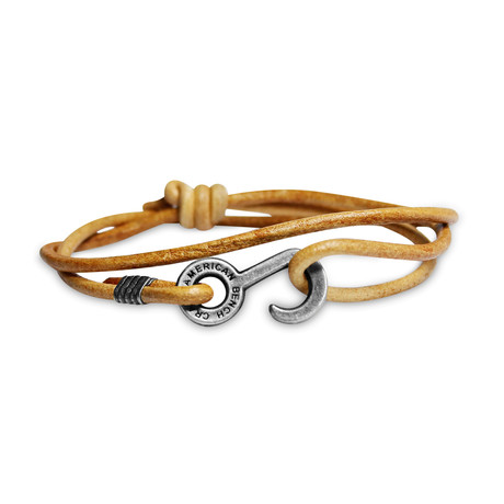 Rum Runner Cord Wrap Bracelet // Tan + Nickel Colored Hardware