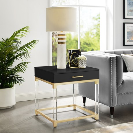 Jerome End Table (White/Gold)