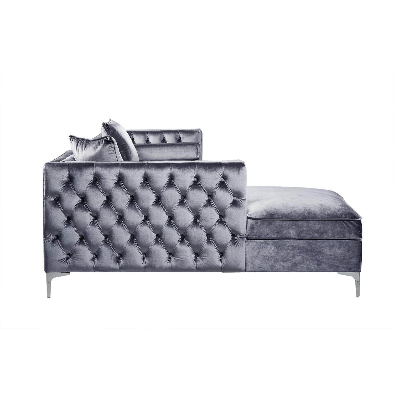 Giovanni Velvet Chaise Sectional Sofa Left Facing Navy