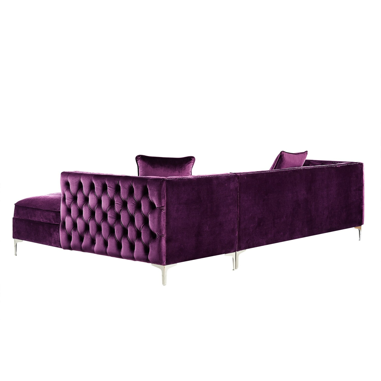 Giovanni Velvet Chaise Sectional Sofa Right Facing