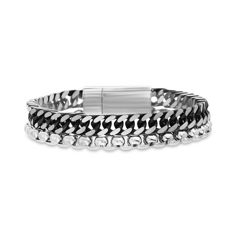 Stainless Steel Cuban Chain Bracelet + Oxidized Double Stranded Box Closure