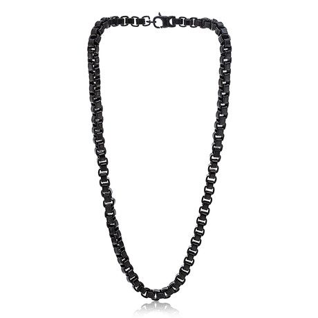 """Stainless Steel Box Chain Necklace // 24"""" // Black"""