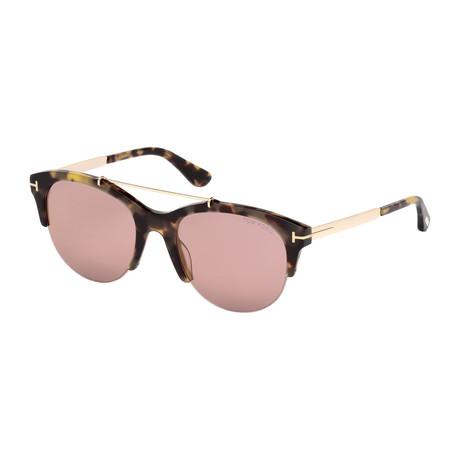 Tom Ford // Women's Adrenne Sunglasses // Light Havana Gold + Violet Gradient