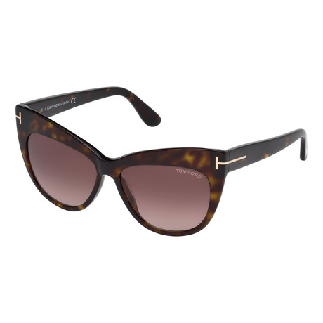 Tom Ford // Women's Nika Sunglasses // Havana + Brown Shaded