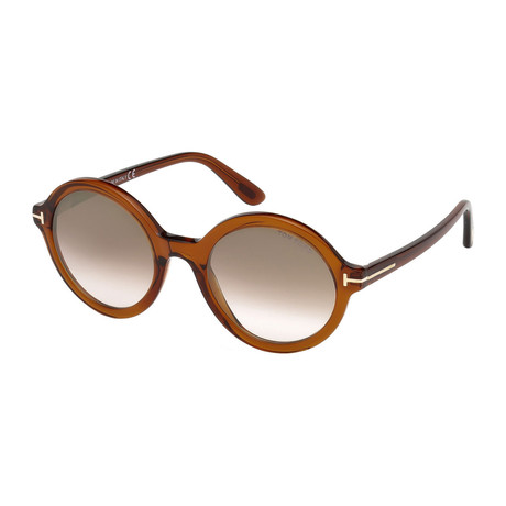 Tom Ford // Women's Nicolette Sunglasses // Brown Crystal + Gray Gradient
