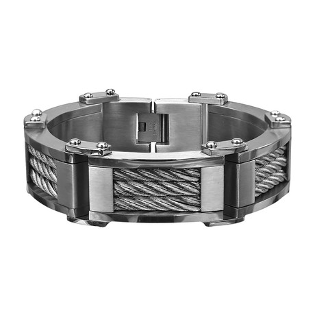 Three Cable Link Bracelet // Silver