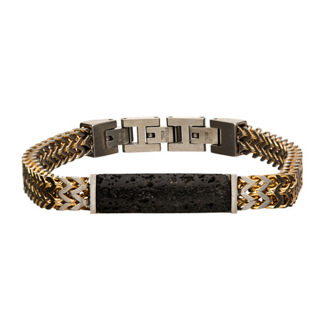Stainless Steel Plated Double Franco Chain + Lava Stone Bracelet // Gold + Black