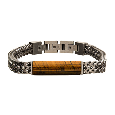 Stainless Steel Double Franco Chain + Tiger Eye Stone Bracelet // Brown + Silver