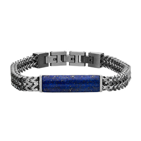 Stainless Steel Double Franco Chain + Lapis Stone Bracelet // Blue + Silver